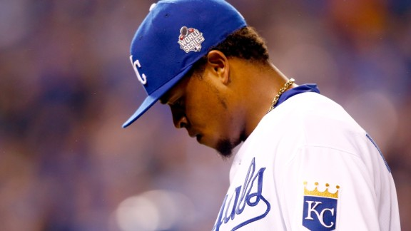 KANSAS CITY, MO - OCTOBER 27:  Edinson Volquez #36 of the Kansas City Royals reacts in the fifth inning against the New York Mets during Game One of the 2015 World Series at Kauffman Stadium on October 27, 2015 in Kansas City, Missouri.  (Photo by Jamie Squire/Getty Images)
