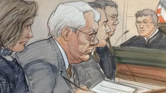 Dennis Hastert in court during his guilty plea.