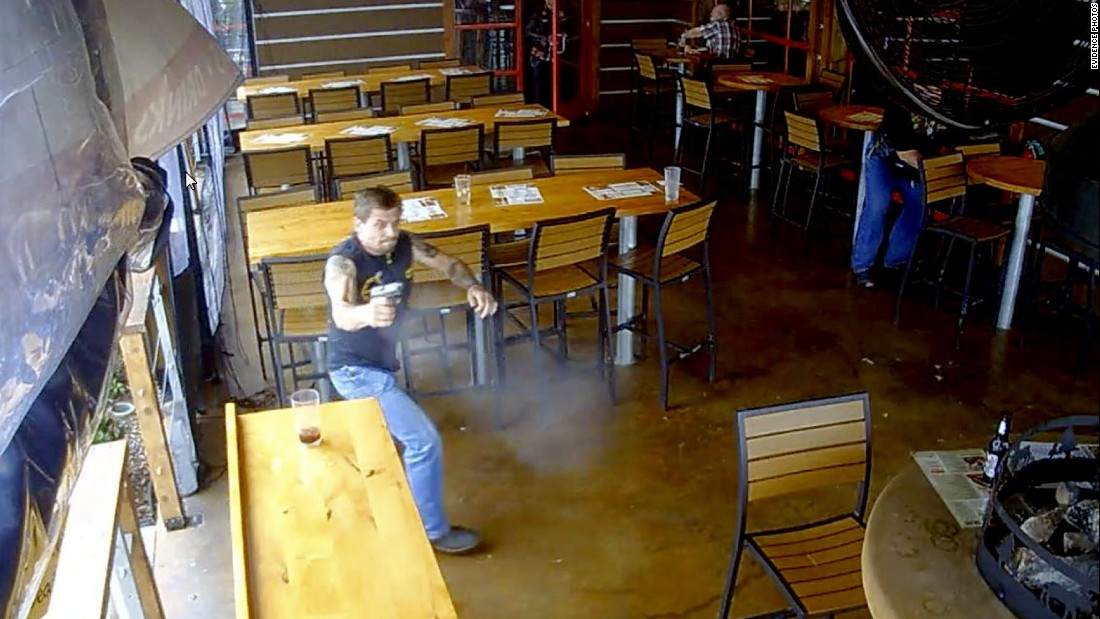 On May 17, 2015, a fight broke out between two rival biker clubs in Waco, Texas. CNN has obtained video and images of the chaos during and after the brawl. This surveillance footage shows a biker running inside the Twin Peaks restaurant where the deadly fight took place. Authorities have classified both the Bandidos and the Cossacks as gangs.