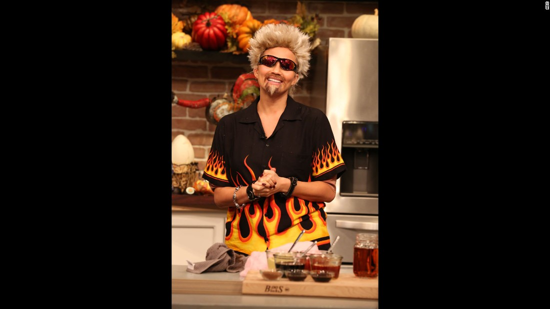 "Chrissy Teigen rode the bus to flavortown and killed it as TV chef Guy Fieri on ABC's ""FABLife."""