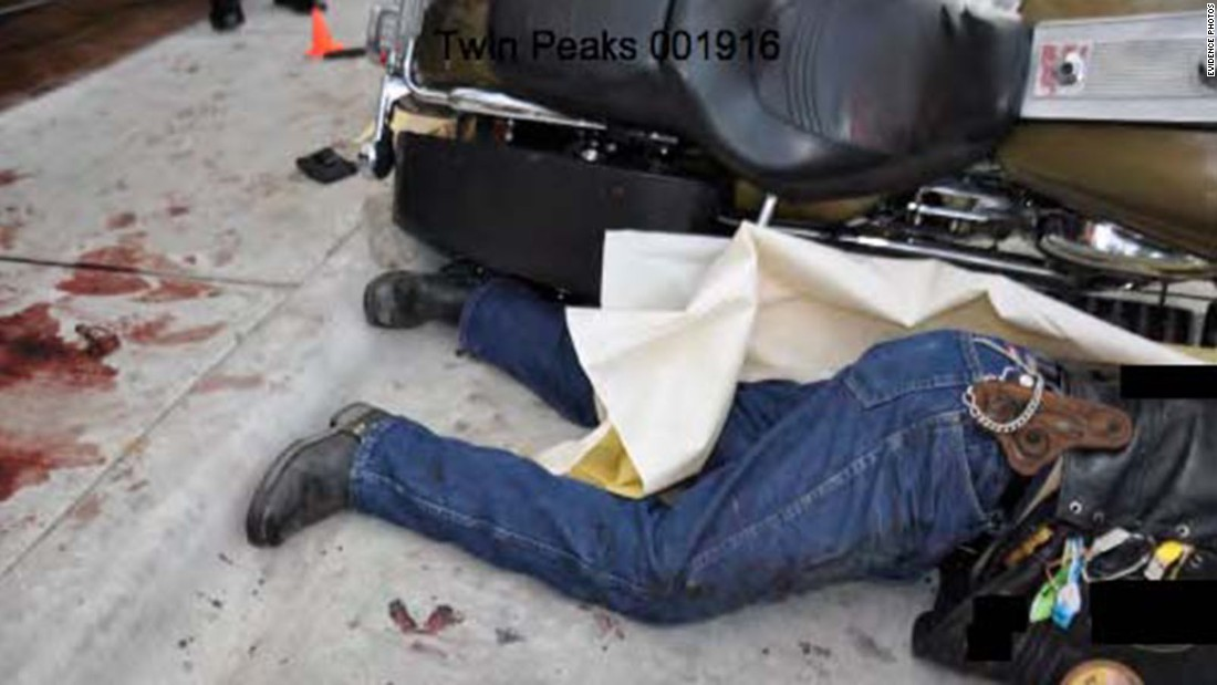 Another body lies next to a tipped-over bike. Police officers fired 12 rounds during the deadly shootout, according to the Waco Police Department, which said it had 16 uniformed officers in their vehicles at the time the suspects began shooting.