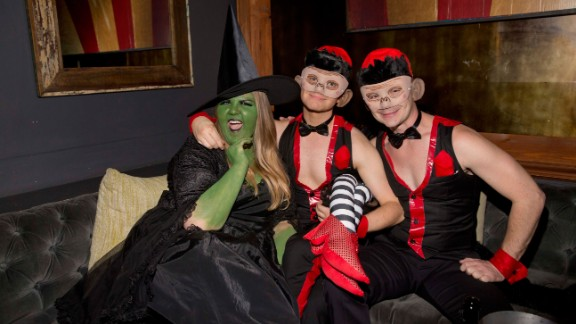 """Glee"" actors Ashley Fink, Chris Colfer and Will Sherrod got frisky at Matthew Morrison's 6th Annual Halloween Masquerade Ball in Los Angeles on October 25."