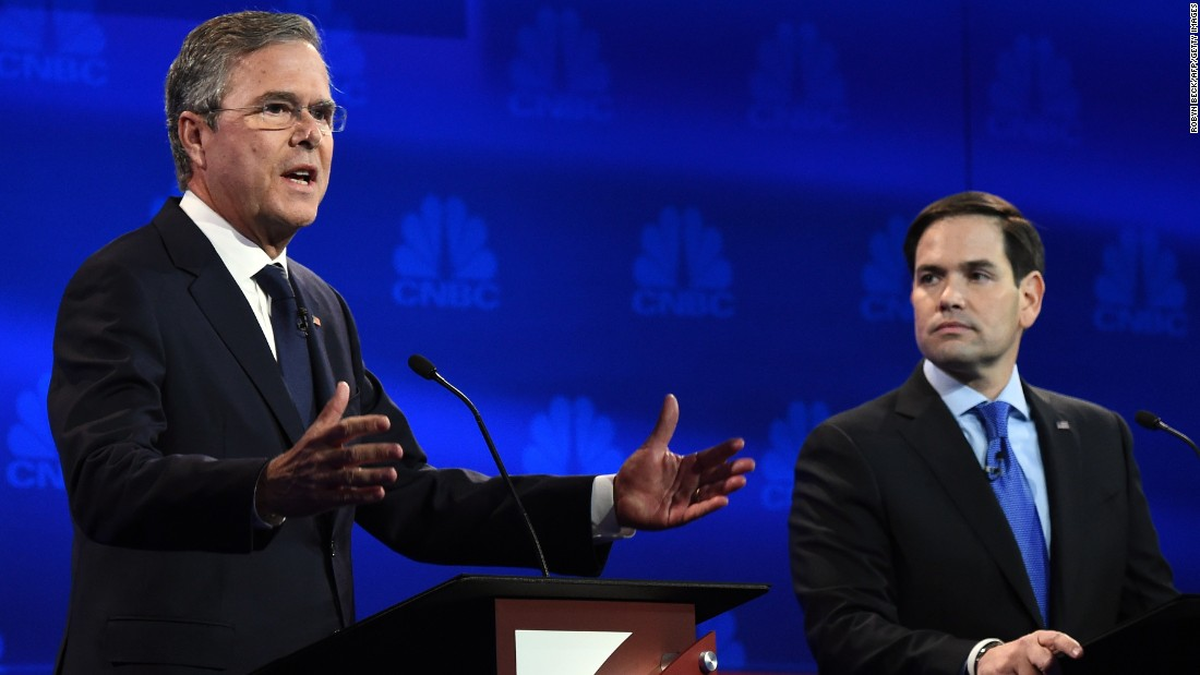 "Jeb Bush went after Marco Rubio for missing votes in the Senate while running for the White House. ""Just resign and let someone else take the job,"" Bush said. Rubio fired back, saying Bush never took issue with Sen. John McCain missing votes when he was running for president. ""The only reason you're doing it now is because we're running for the same position."""