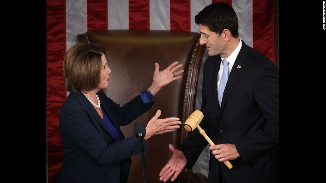 "U.S. House Minority Leader Rep. Nancy Pelosi hands a gavel to incoming <a href=""http://www.cnn.com/2015/10/29/politics/paul-ryan-house-speaker-vote/"" target=""_blank"">Speaker of the House</a> Rep. Paul Ryan on Thursday, October 29, on Capitol Hill in Washington. Rep. Ryan has been elected to succeed Rep. John Boehner to be the new speaker of the House."