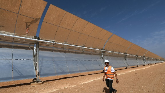 The plant uses concentrated solar power technology which is more expensive to install than photovoltaic panels, but able to store energy for nights and cloudy days.