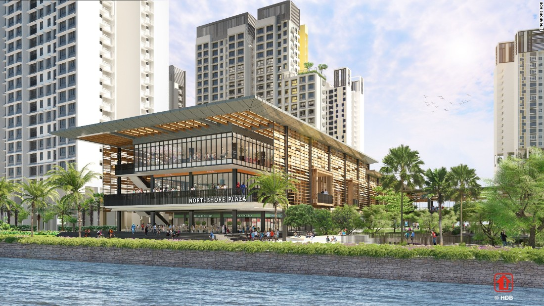 Northshore Plaza will be the first seafront neighborhood center in a residential estate built by the Singapore government. It's meant to be much more than a home -- it'll include a supermarket, food courts, restaurants, shops and childcare centers. It's also being used as a test case for new technology including Smart Fans, which are activated by wind speed, temperature and human traffic patterns. The development is expected to be completed in 2020.