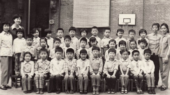 CNN's Steven Jiang, aged 6 in a school photo in 1982. Most of his classmates were also only children. He is front row, third from left.
