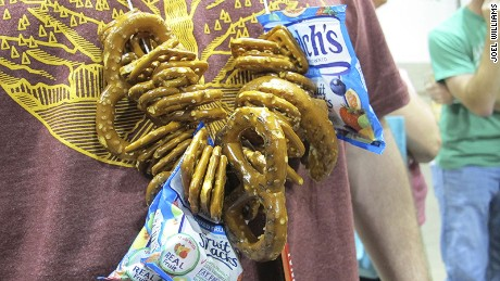 For those who have never attended a massive beer festival like the Great American Beer Festival, let me clue you in on a little secret. One of the only ways festival attendees are able to make it through the festival unscathed, which offers attendees an UNLIMITED amount of beer samples, is the homemade pretzel necklace. Hard pretzels and other snacks are attached to a string and worn around the neck while at the festival. The pretzels are chomped off as needed to help keep things under control.