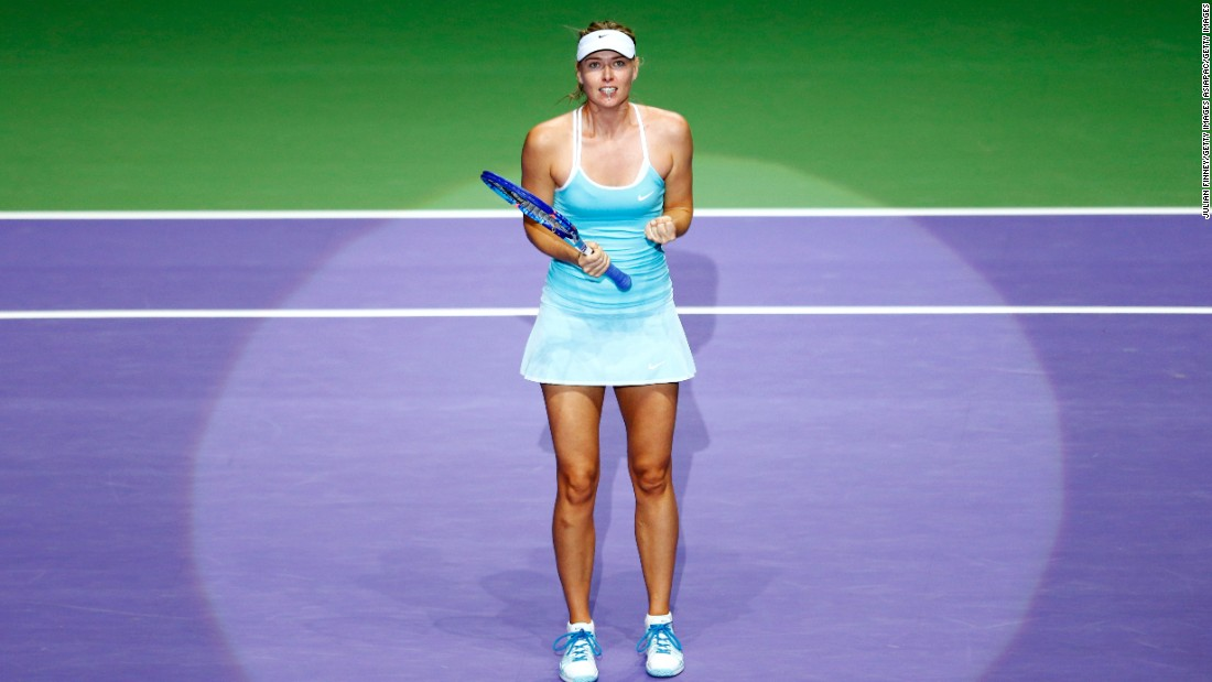 In Saturday's semifinals, Sharapova, pictured, played Kvitova and Muguruza faces Radwanska.