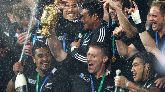 Thorn lifts the Webb Ellis Cup in 2011.