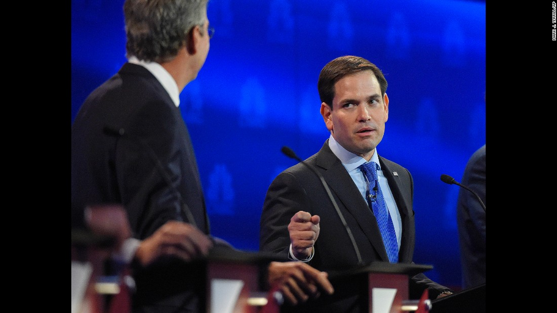 "Marco Rubio, right, argues with Jeb Bush during the <a href=""http://www.cnn.com/2015/10/28/politics/gallery/republican-debates-colorado/index.html"" target=""_blank"">Republican presidential debate</a> at the University of Colorado in Boulder on Wednesday, October 28. Bush went after Rubio for missing votes in the Senate while running for the White House. ""Just resign and let someone else take the job,"" Bush said. Rubio fired back, saying Bush never took issue with Sen. John McCain missing votes when he was running for president. ""The only reason you're doing it now is because we're running for the same position."" After the debate, Rubio gained in the polls while Bush dropped."