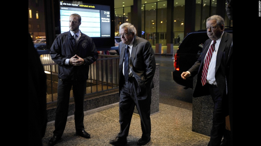 Former House Speaker Dennis Hastert, center, arrives at the federal courthouse in Chicago on Wednesday, October 28. He pleaded guilty to structuring money transactions in a way to evade requirements to report where the money was going. The money, investigators said, went to pay someone he had wronged $3.5 million in hush money.