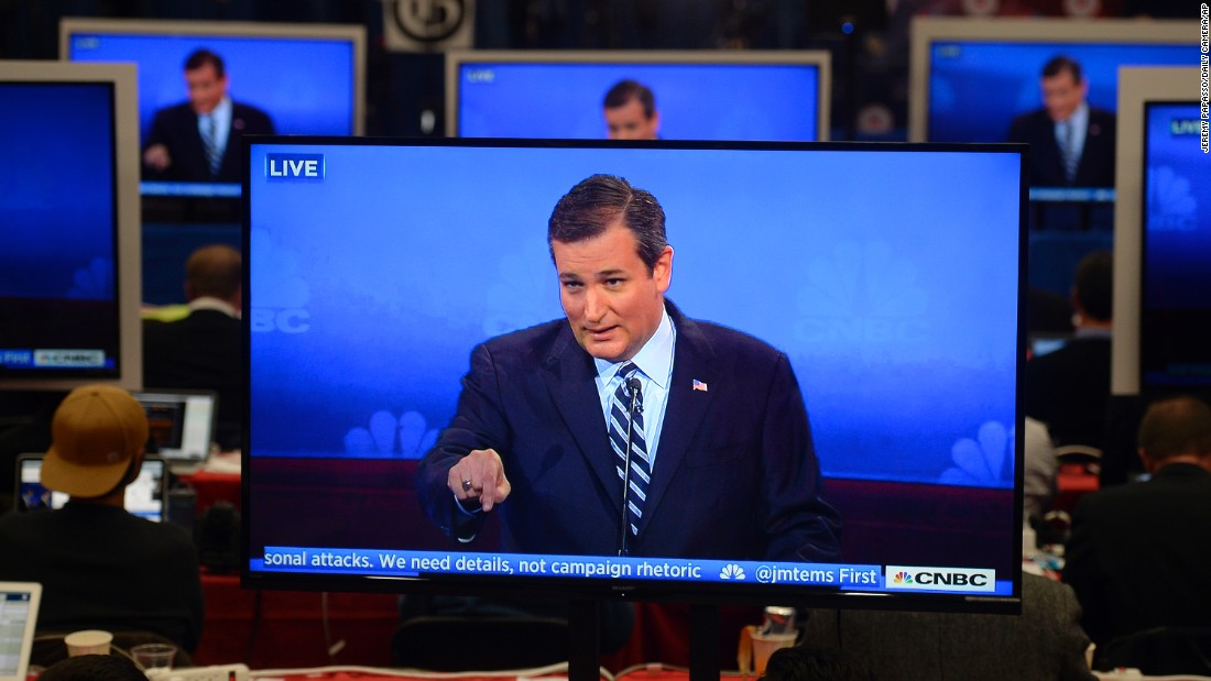 "Ted Cruz is viewed on multiple television monitors inside the spin room at the <a href=""http://www.cnn.com/2015/10/28/politics/gallery/republican-debates-colorado/index.html"" target=""_blank"">GOP presidential debate</a> in Boulder on Wednesday, October 28. Cruz got a big cheer from the crowd with an attack on the debate moderators. ""How about talking about the substantive issues people care about?"" he asked. The mainstream media was one of the night's big targets."