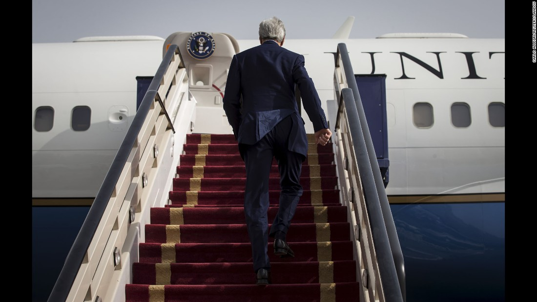 Secretary of State John Kerry boards his plane in Riyadh, Saudi Arabia, to head back to the United States on Sunday, October 25. Kerry traveled to Saudi Arabia for ongoing talks about ending Syria's civil war.
