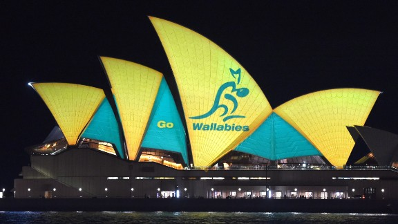 The Sydney Opera House is lit up in Australian colors to support the Wallabies ahead of their World Cup final clash with New Zealand.