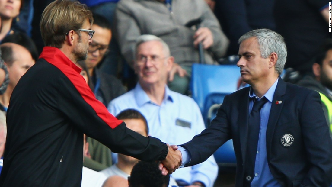Liverpool manager Jurgen Klopp shakes hand with a glum Jose Mourinho after his team's superb victory.