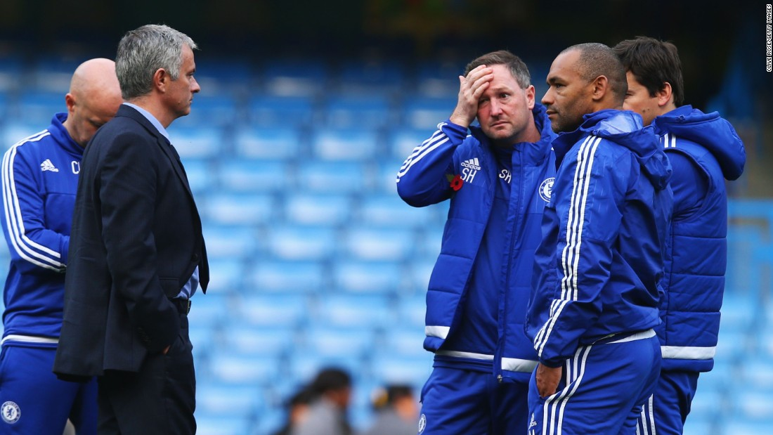 Mourinho and his coaching staff held a post match inquest on the pitch after a sixth defeat of the EPL season for Chelsea.