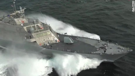See U S  Navy warship at top speed