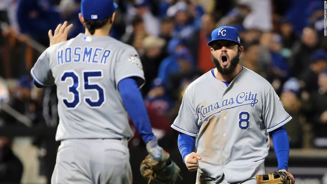 Eric Hosmer and Mike Moustakas of the Kansas City Royals react after defeating the New York Mets by a score of 5-3 to win Game 4 of the World Series in  New York on Saturday, October 31, 2015. The win put the Royals up to lead the series by three games to one.