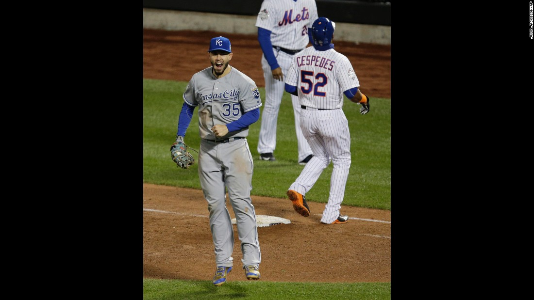 Royals first baseman Eric Hosmer celebrates after a double play ended the ninth inning of Game 4.