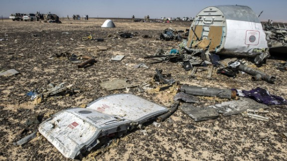 Debris belonging to the Russian airliner is shown at the site of the crash on November 1.
