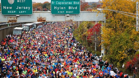Runners wait at the starting line of the 2015 TCS New York City Marathon in the Staten Island borough of New York.