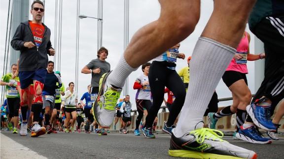 Runners cross the Verrazano-Narrows Bridge at the start of the marathon.