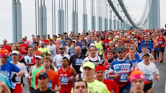 Runners cross the Verrazano-Narrows Bridge.