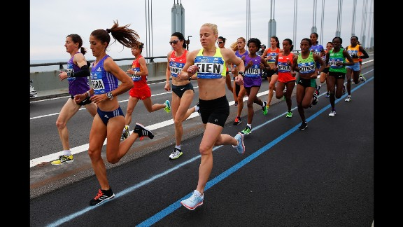 The Pro Women's Division of runners crosses the Verrazano-Narrows Bridge at the start of the marathon.