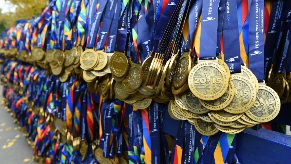 Medals are ready for finishers at the finish line.