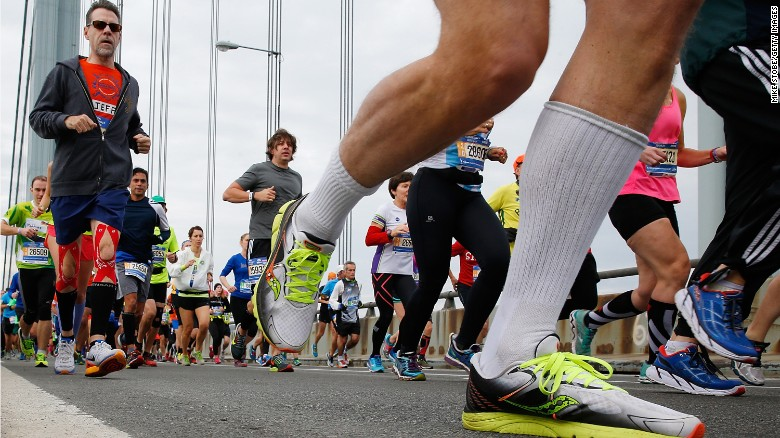 Runners cross the Verrazano-Narrows Bridge at the start of the TCS New York City Marathon on November 1 in New York City.