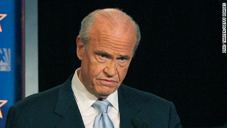 Republican presidential hopeful former U.S. Sen. Fred Thompson (R-TN) speaks during a televised debate at the Myrtle Beach Convention Center January 10, 2008 in Myrtle Beach, South Carolina. Candidates have shifted their efforts to other primary states after the New Hampshire primary and Iowa caucus.
