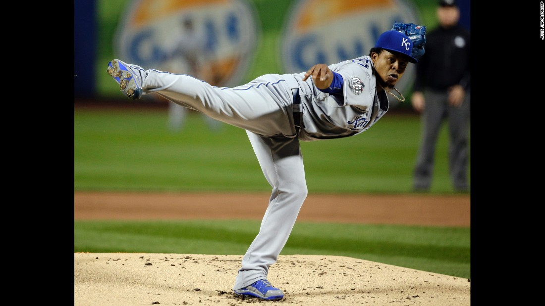 Kansas City Royals starting pitcher Edinson Volquez throws against the New York Mets during the first inning.