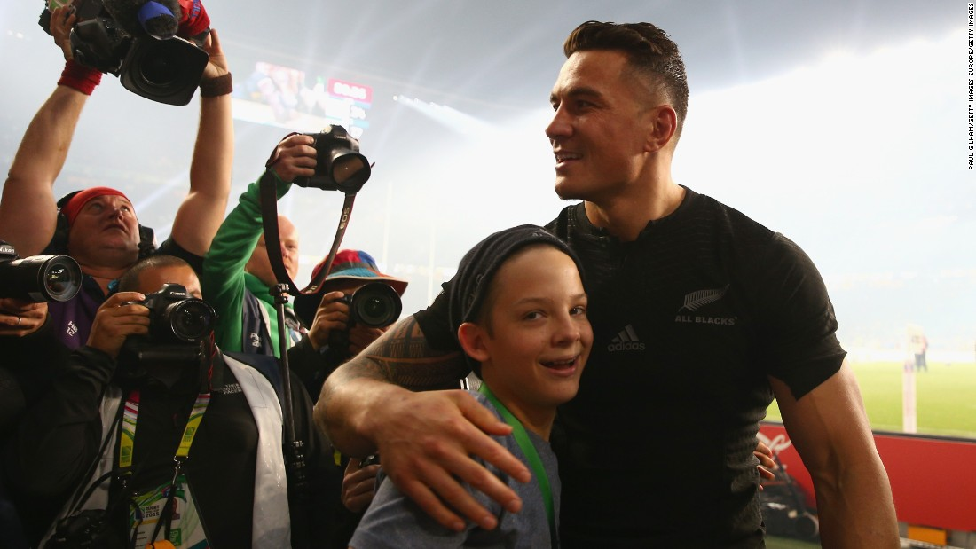 The young All Blacks supporter had run onto the pitch in his post-match excitement only to be bundled to the ground by a steward.