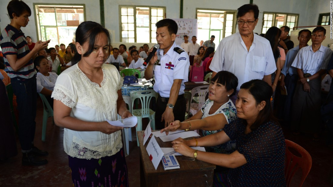 Local election officials conduct a voting day simulation in a school compound in Yangon on October 31 during a training session for volunteers, supervised by Union Election Commission (UEC) officials in preparation for the November 8 election.