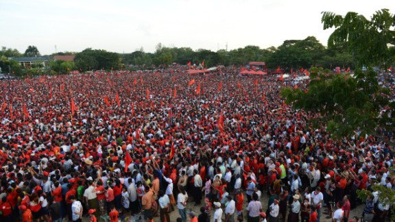 Thousands of Suu Kyi's supporters gather at a final rally in Myanmar's largest city, Yangon, on November 1 to hear the former political prisoner and Nobel laureate speak.