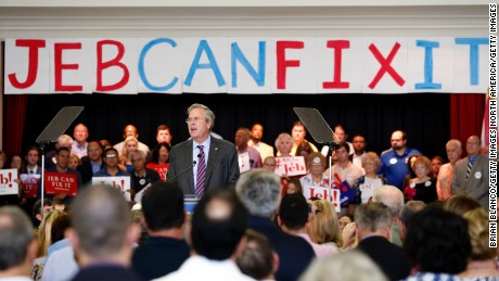 "TAMPA, FL - NOVEMBER 2: Republican presidential candidate and former Florida governor Jeb Bush speaks to supporters during a rally on his ""Jeb Can Fix It"" Tour on November 2, 2015 at the Tampa Garden Club in Tampa, Florida. Following dropping poll numbers and poor debate performance Bush is trying to reset his campaign that many say has been flailing.  (Photo by Brian Blanco/Getty Images)"