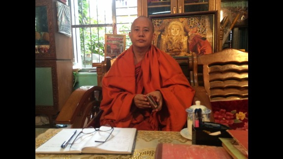 """U Wirathu is a founder of an ultra-nationalist Buddhist movement called the Committee to Protect Race and Religion, known locally as Ma Ba Tha. In an interview with CNN, he did not hesitate to name what he said is the No. 1 threat to his faith: Muslims. """"Their law requires Buddhist women who marry into their religion must convert (to Islam),"""" he said. """"They take many wives and they have many children. And when their population grows they threaten us."""" Myanmar is roughly 90% Buddhist, the CIA World Factbook estimates."""