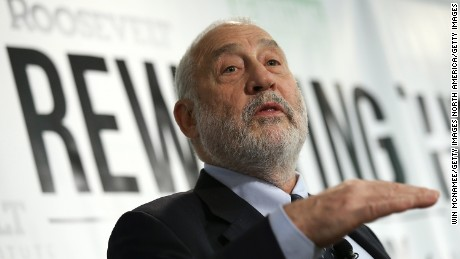 "WASHINGTON, DC - MAY 12:  Nobel-prize winning economist Joseph Stiglitz speaks about the release of a new report he authored that was published by the Roosevelt Institute May 12, 2015 in Washington, DC. The report, titled ""New Economic Agenda for Growth and Shared Prosperity"", discusses the current distribution of wealth in the U.S. and offers proposals for modifying that distribution.  (Photo by Win McNamee/Getty Images)"