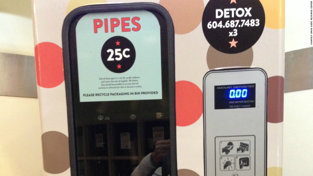 Crack pipes are sold through a vending machine at the local drug resource center for just 25 cents.