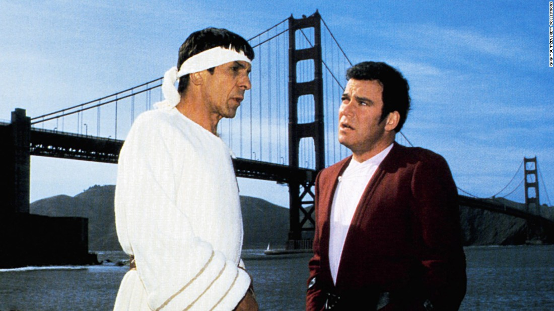 "After mixed reviews for ""Star Trek III: The Search for Spock,"" the crew of the Enterprise time-traveled to 1986 San Francisco for ""Star Trek IV: The Voyage Home."" Leonard Nimoy, left, directed the movie, which had a ""save the whales"" environmental message."