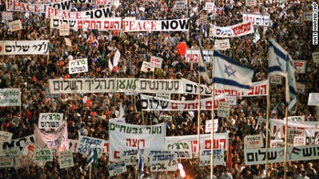 More than 100,000 Israelis crowded Tel Aviv's municipal square on November 4, 1995, in a show of support for the government's peacemaking policies.