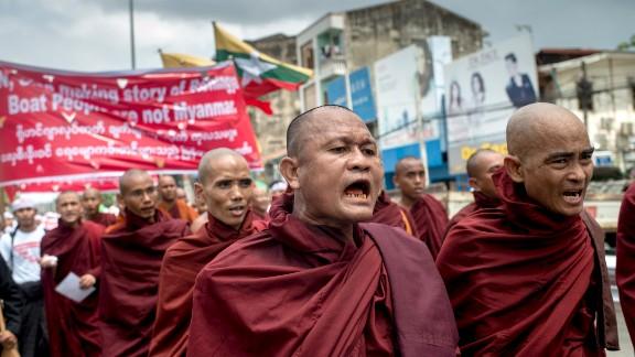 Buddhist monks demonstrate against the U.N. and the return of Rohingya Muslims May 27, 2015 in Yangon.