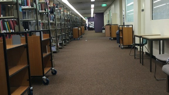 With all eyes glued on events at Flemington, there wasn't a soul to be seen studying at the Australian National University's Law Library in Canberra.
