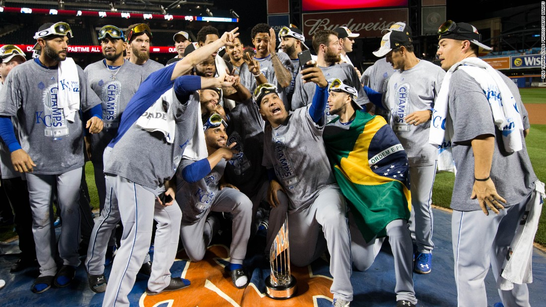 "Members of the Kansas City Royals take a selfie at New York's Citi Field after winning the World Series on Sunday, November 1. It was the Royals' first title since 1985. <a href=""http://bleacherreport.com/articles/2585716-royals-parade-2015-twitter-reaction-photos-videos-gifs-and-more"" target=""_blank"">See images from the team's victory parade</a>"