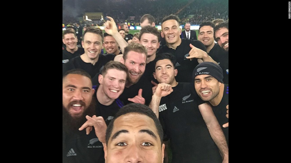 "The All Blacks, New Zealand's national rugby team, takes a selfie after winning the Rugby World Cup in London on Saturday, October 31. ""Always time for a selfie,"" wrote player Colin Slade, who posted this <a href=""https://instagram.com/p/9hHq3aQAa-/?taken-by=colinslade"" target=""_blank"">to his Instagram account.</a>"