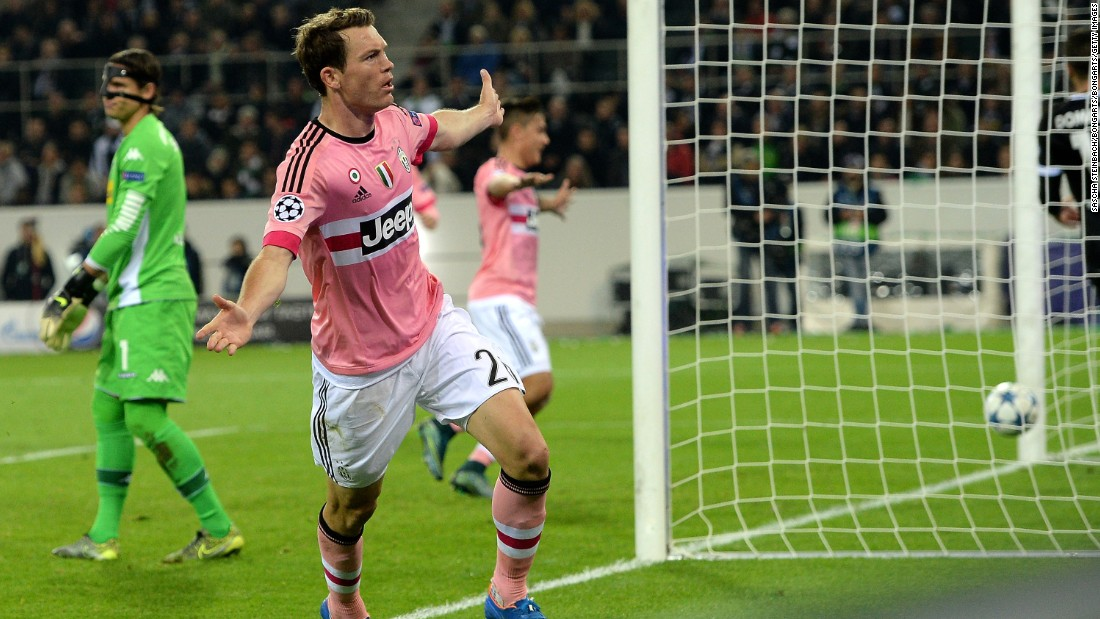Stephan Lichtsteiner celebrates after scoring second-placed Juventus' equalizer in the 1-1 draw at Borussia Monchengladbach.