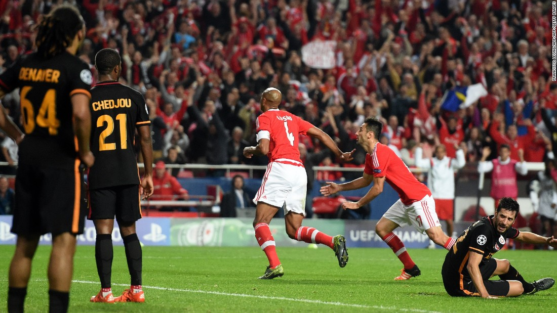 Brazilian defender Luisao (center) scored Benfica's second-half winner in the 2-1 victory over Galatasaray that put the Portuguese team two points clear at the top.