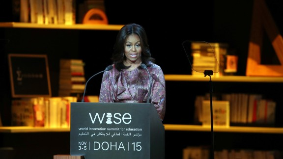First lady Michelle Obama delivers a speech in Doha, Qatar, during the World Innovation Summit for Education on Wednesday, November 4. Obama will be visiting Qatar and Jordan during her seven-day tour of the Middle East, where she is promoting her girls