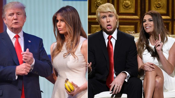 "Actors Taran Killam and Cecily Strong revealed their impersonations of Republican presidential candidate Donald Trump and his wife, Melania, on a ""Saturday Night Live"" episode in October."